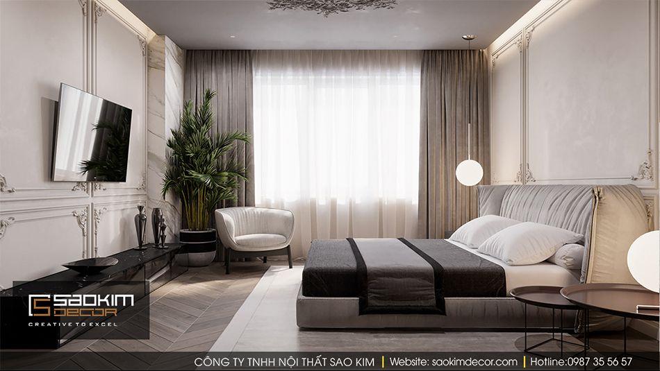 Thiết kế nội thất phòng ngủ master căn hộ Vinhome Ocean Park