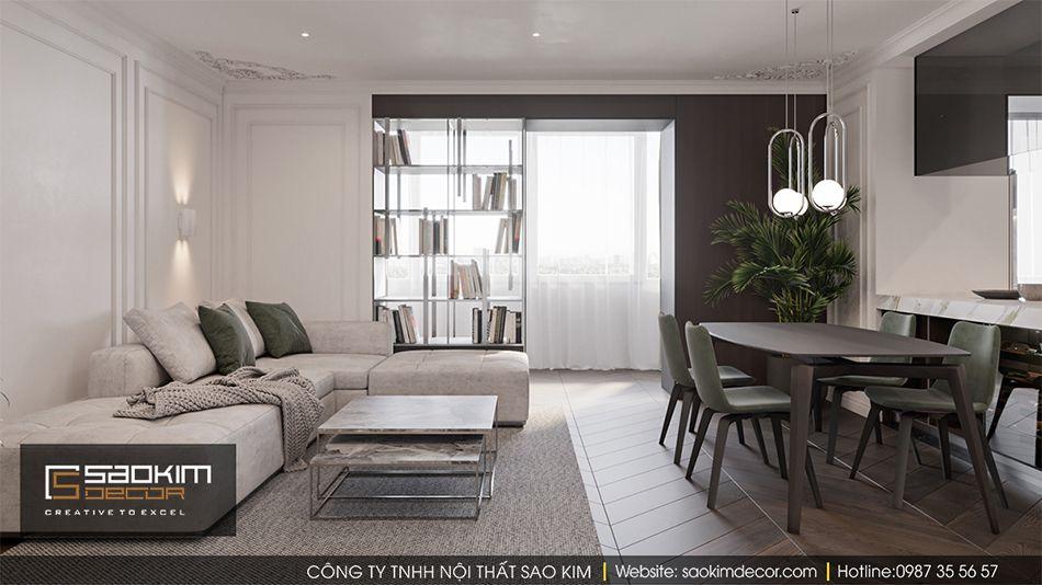 Thiết kế nội thất phòng khách chung cư Vinhome Ocean Park