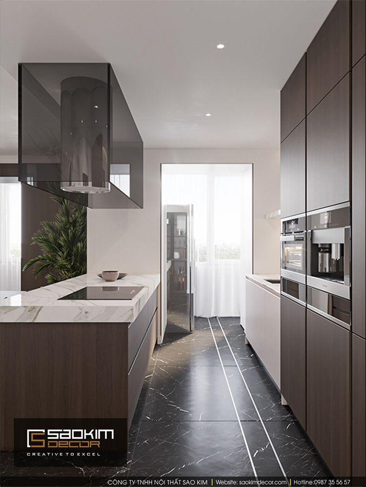 Thiết kế nội thất phòng bếp chung cư Vinhome Ocean Park