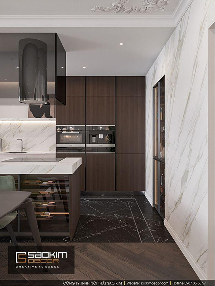 Thiết kế nội thất phòng bếp căn hộ Vinhome Ocean Park