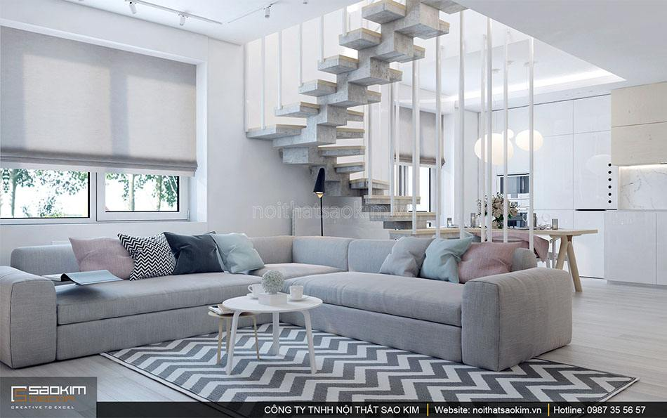 Thiết kế nội thất phòng khách căn hộ duplex - Golden Westlake
