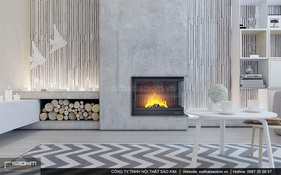 Thiết kế nội thất phòng khách căn hộ duplex