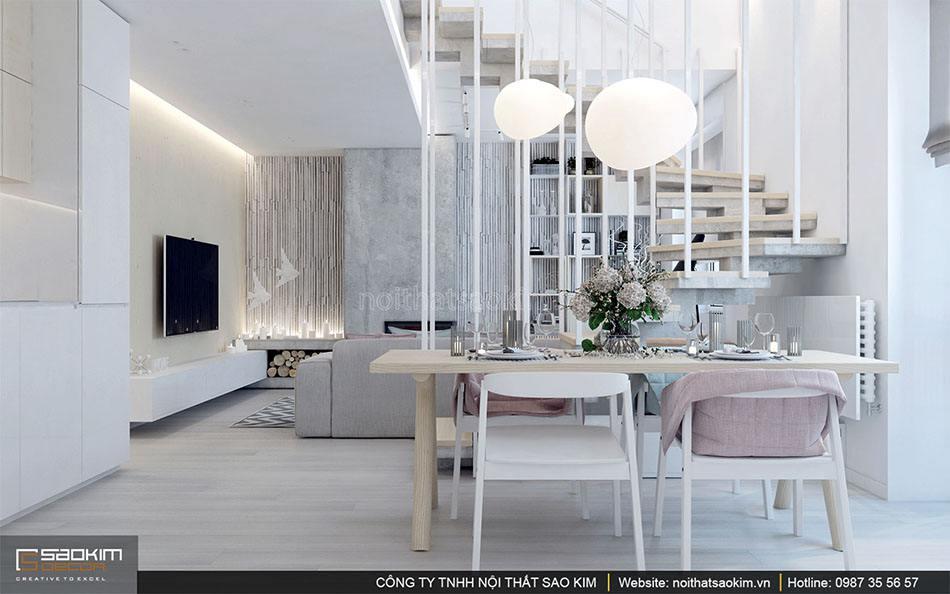 Thiết kế nội thất phòng bếp căn hộ duplex - Golden Westlake