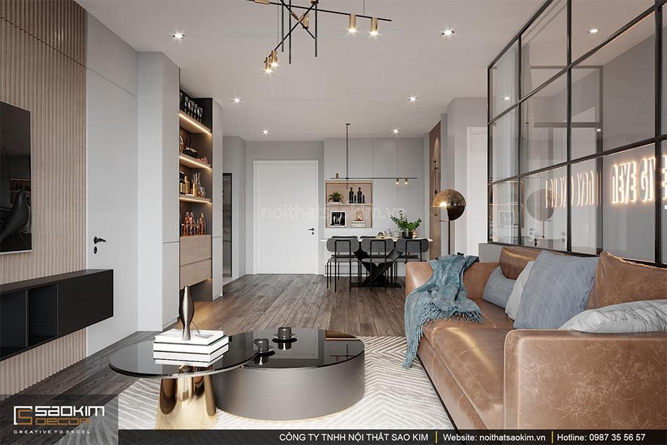 Thiết kế phòng khách chung cư Sunshine Garden