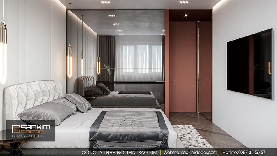 Thiết kế nội thất phòng ngủ phụ chung cư Hateco La Roma