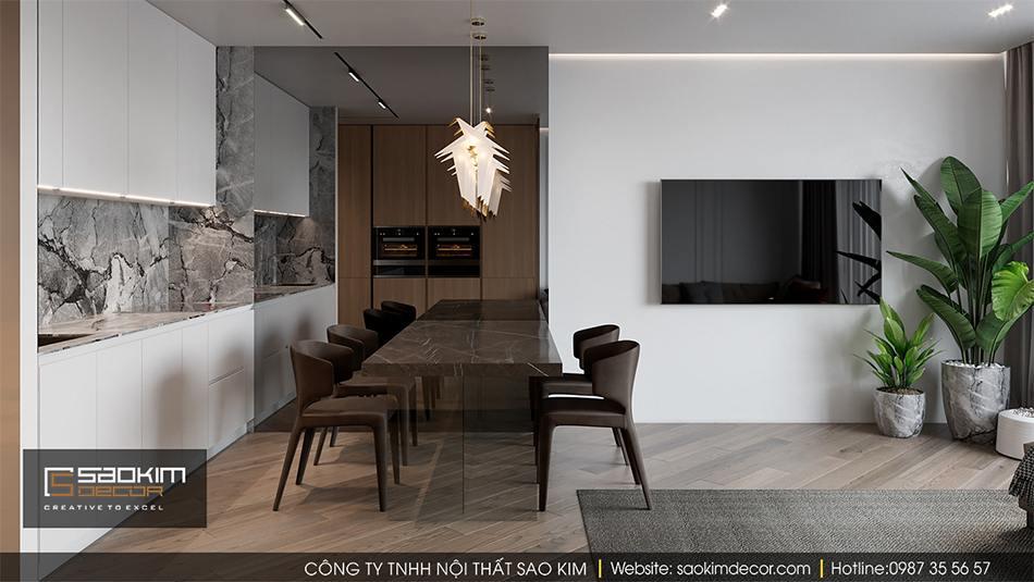 Thiết kế phòng bếp chung cư hiện đại Hateco La Roma