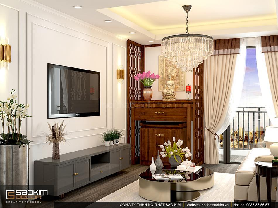 Thiết kế nội thất phòng khách chung cư Sunshine Garden