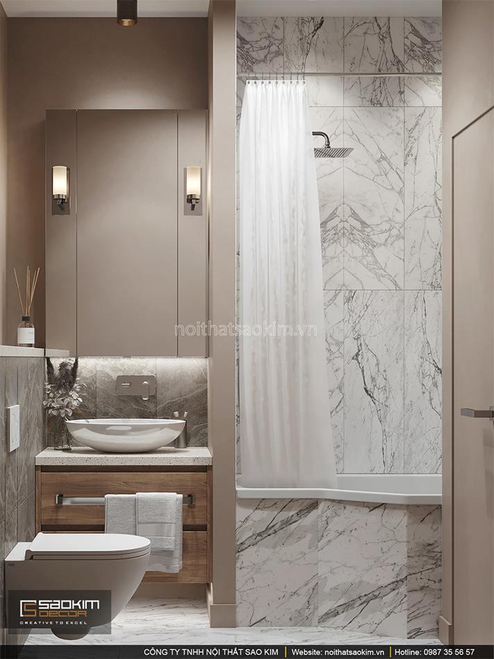 Thiết kế nội thất phòng tắm chung cư 6TH Element
