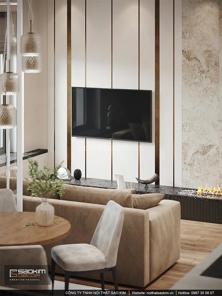 Thiết kế phòng khách căn hộ 1,5 phòng ngủ 6TH Element