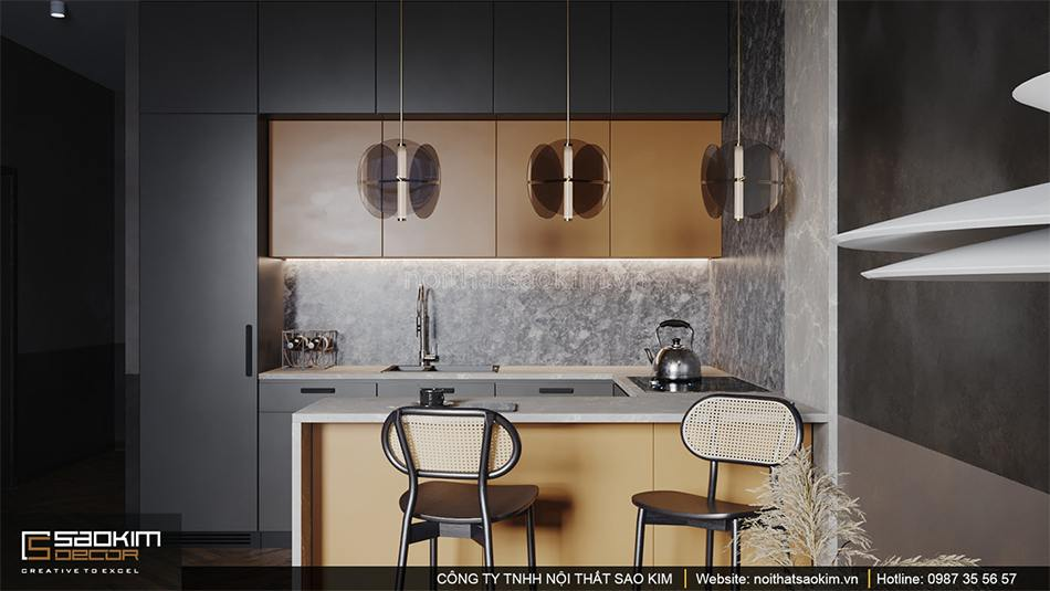 Thiết kế phòng bếp căn hộ chung cư Vinhome Ocean Park