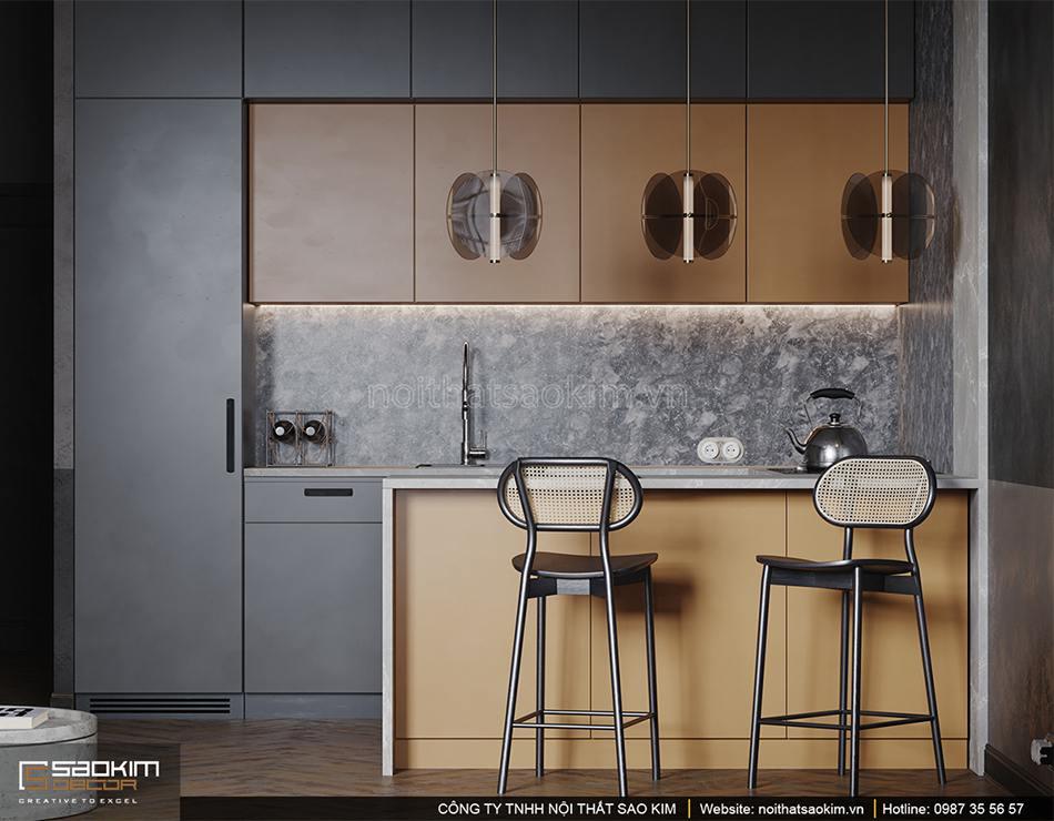 Thiết kế nội thất phòng bếp chung cư Vinhomes Ocean Park