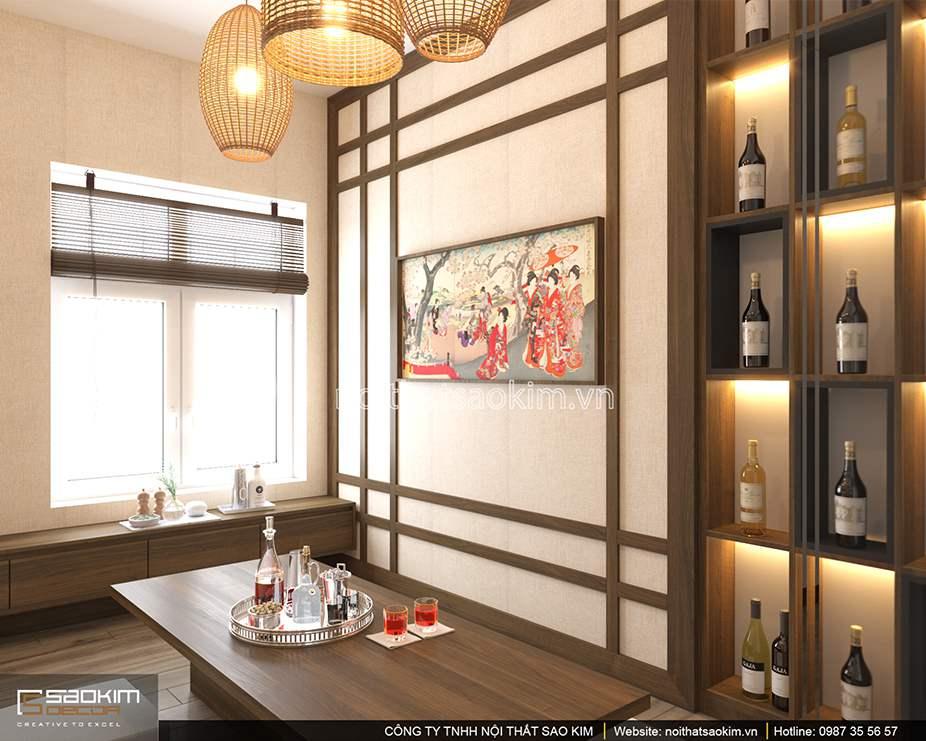 Thiết kế nội thất phòng ăn chung cư theo phong cách Nhật Bản