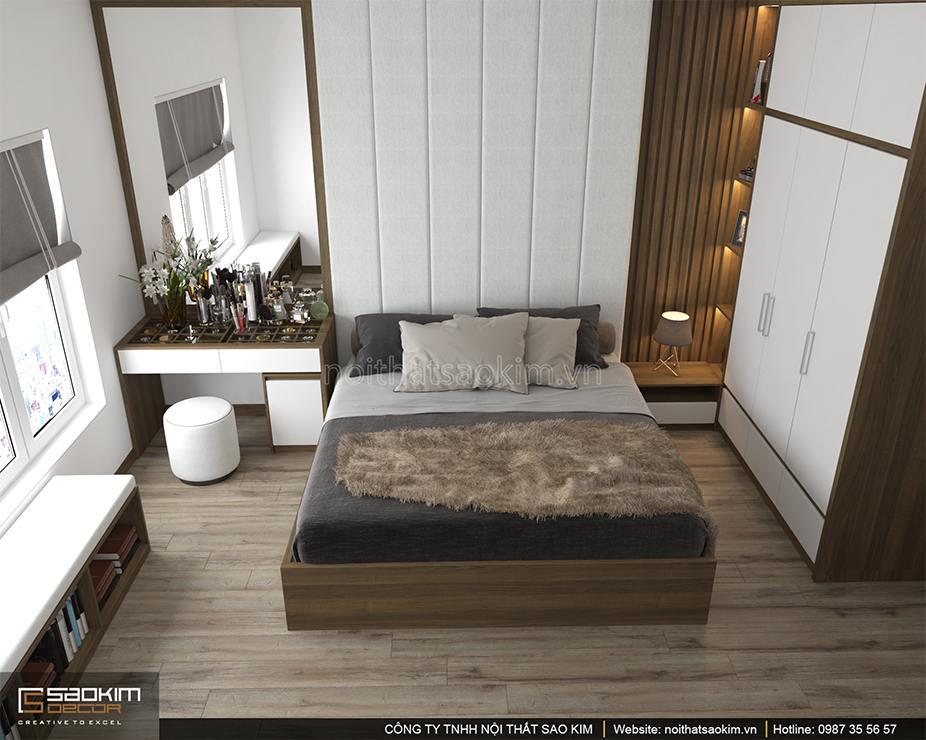 Thiết kế nội thất phòng ngủ master chung cư PHC Complex