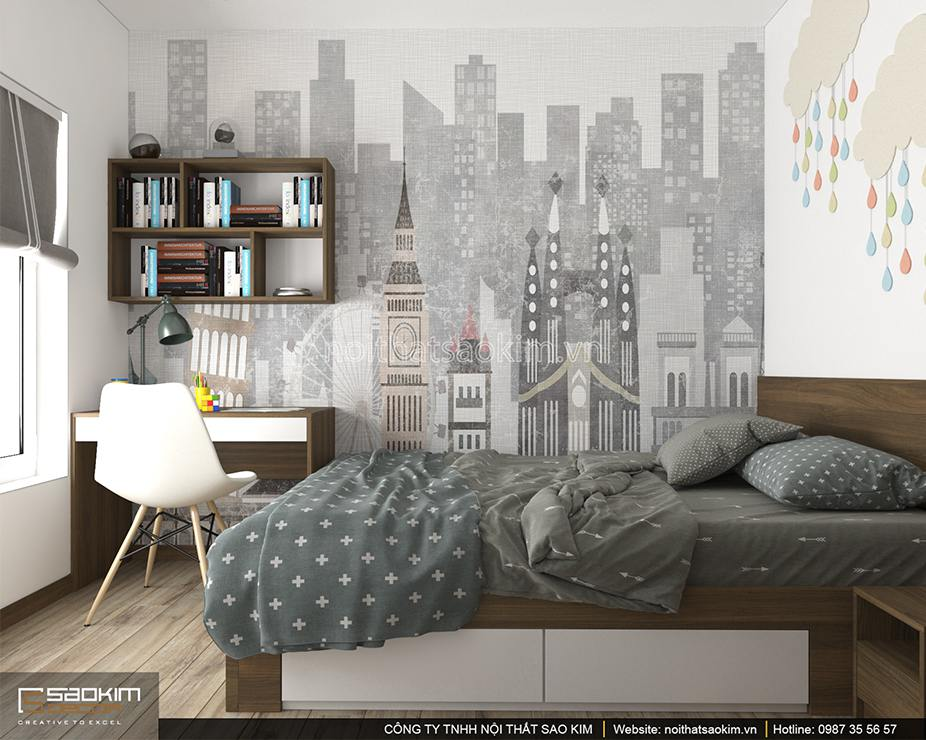 Thiết kế nội thất phòng ngủ bé trai chung cư PHC Complex