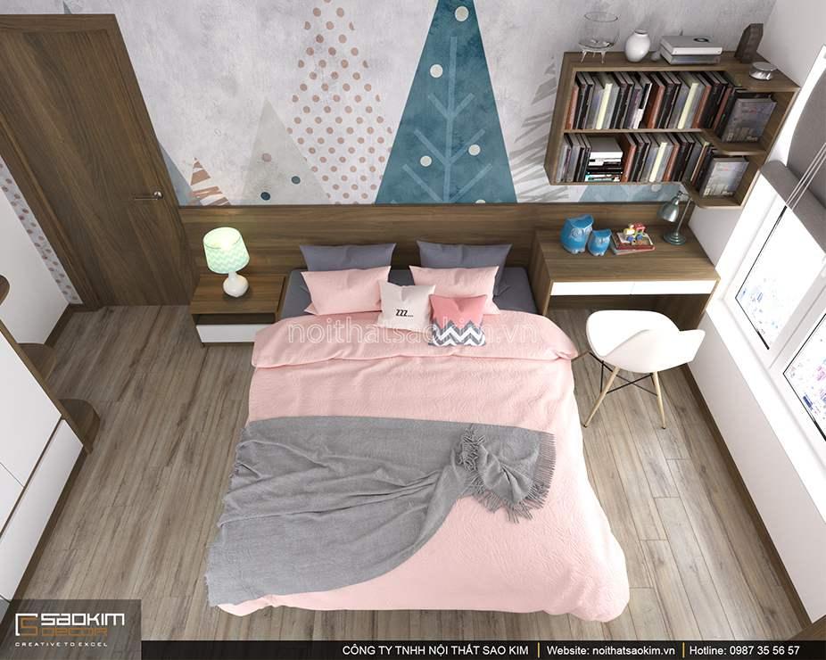 Thiết kế nội thất phòng ngủ bé gái chung cư PHC Complex