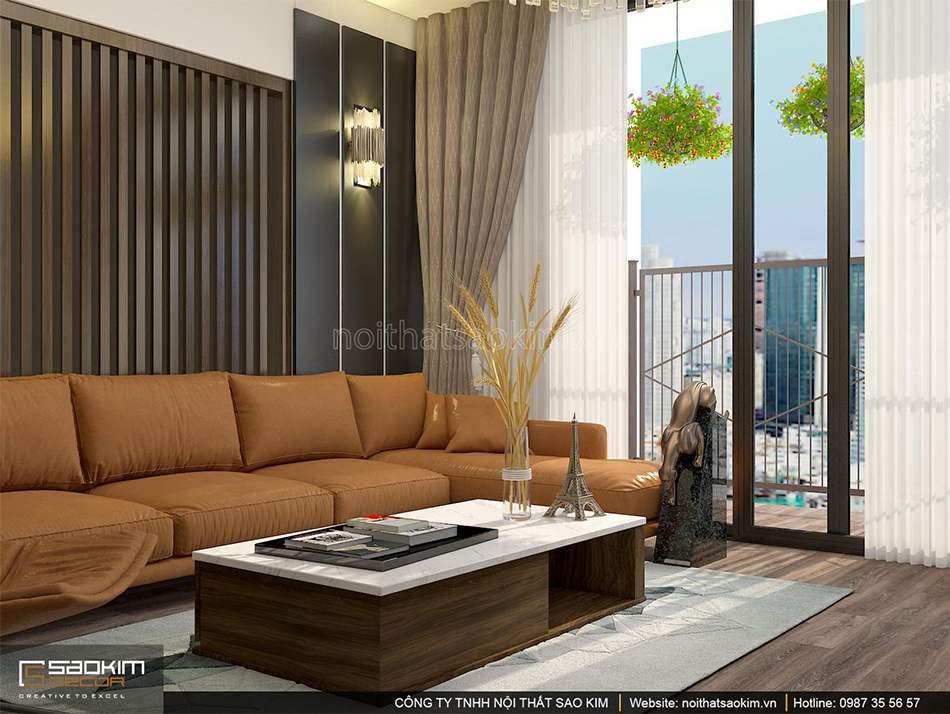 Thiết kế phòng khách chung cư PHC Complex