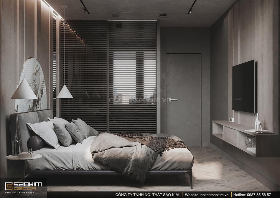 Thiết kế nội thất phòng ngủ căn hộ Vinhomes Smart City