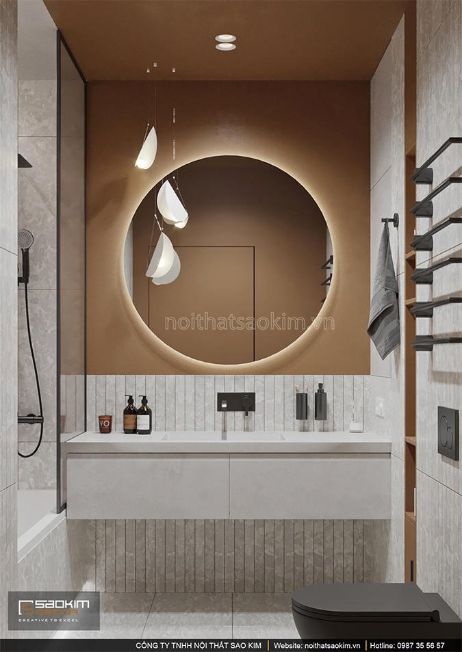Thiết kế nội thất phòng tắm căn hộ nhỏ Vinhomes Smart City phân khu Sapphire