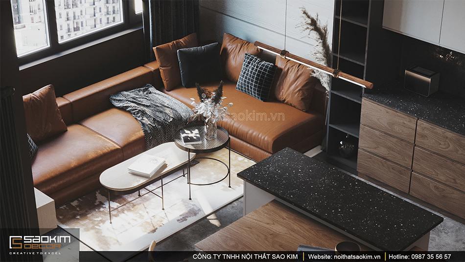 Thiết kế nội thất phòng khách căn hộ nhỏ Vinhomes Smart City phân khu Sapphire