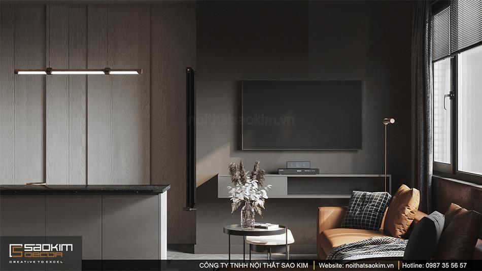 Thiết kế nội thất phòng khách căn hộ 43m2 Vinhomes Smart City