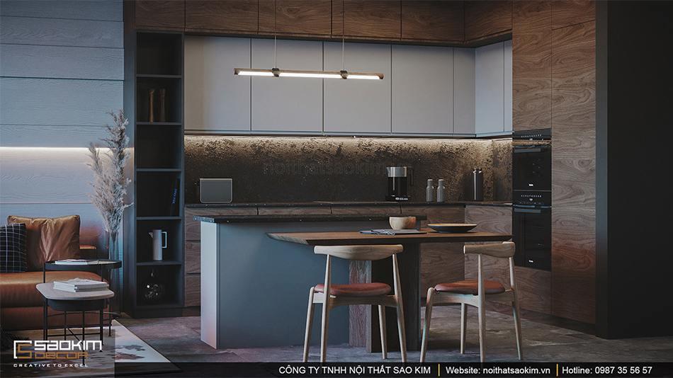 Thiết kế nội thất phòng bếp Vinhomes Smart City phân khu Sapphire