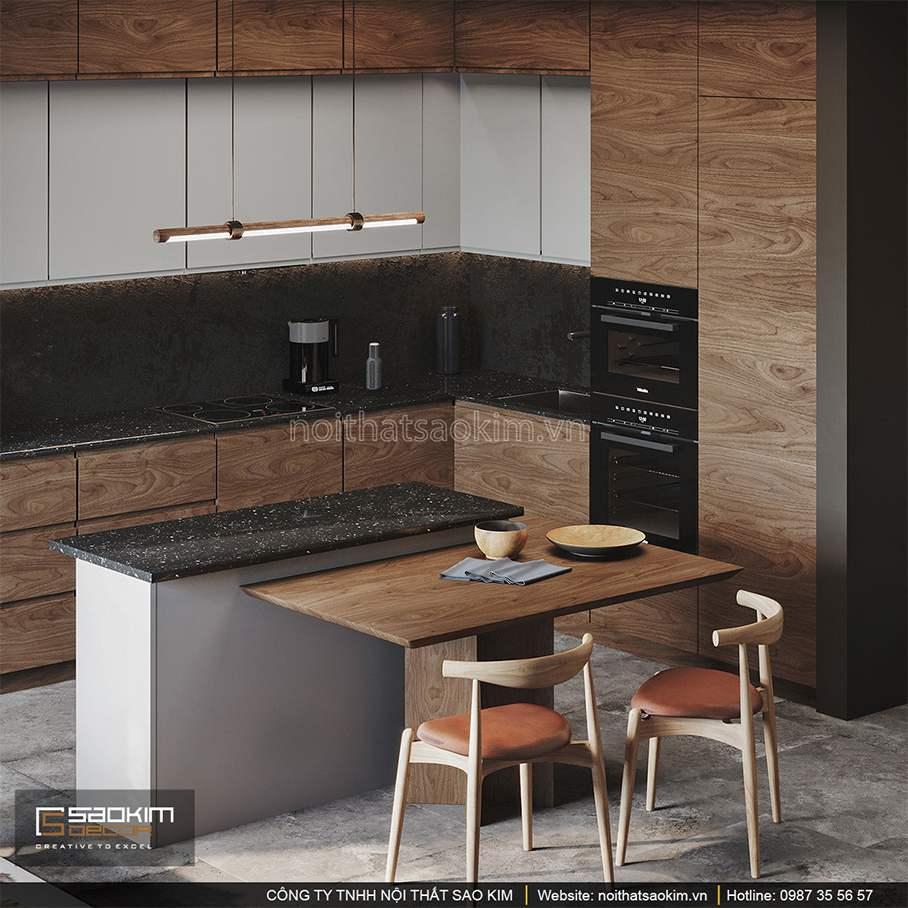 Thiết kế nội thất phòng bếp chung cư 43m2
