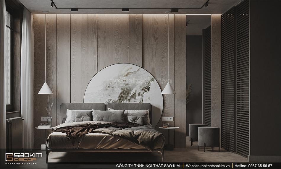 Thiết kế nội thất phòng ngủ căn hộ nhỏ Vinhomes Smart City phân khu Sapphire
