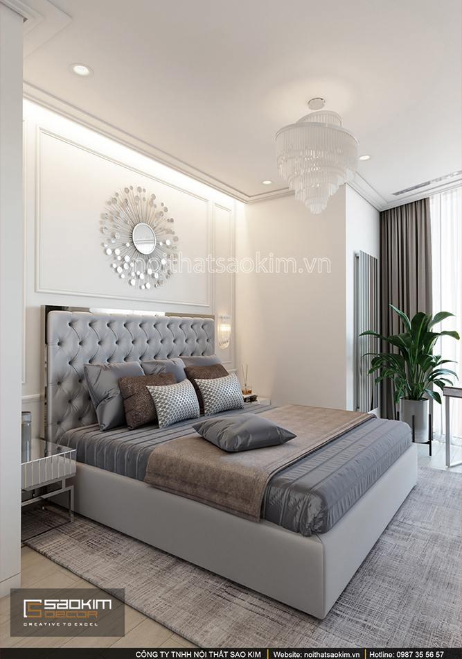 Thiết kế phòng ngủ chung cưtheo phong cách tân cổ điển