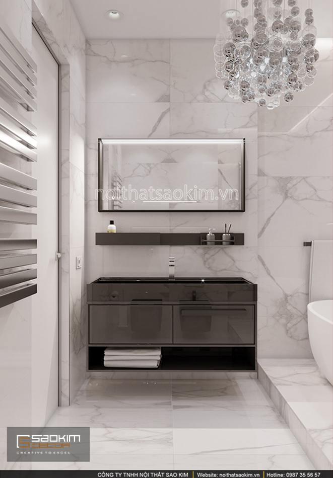 Thiết kế phòng tắm chung cư 56m2 Sun Grand City