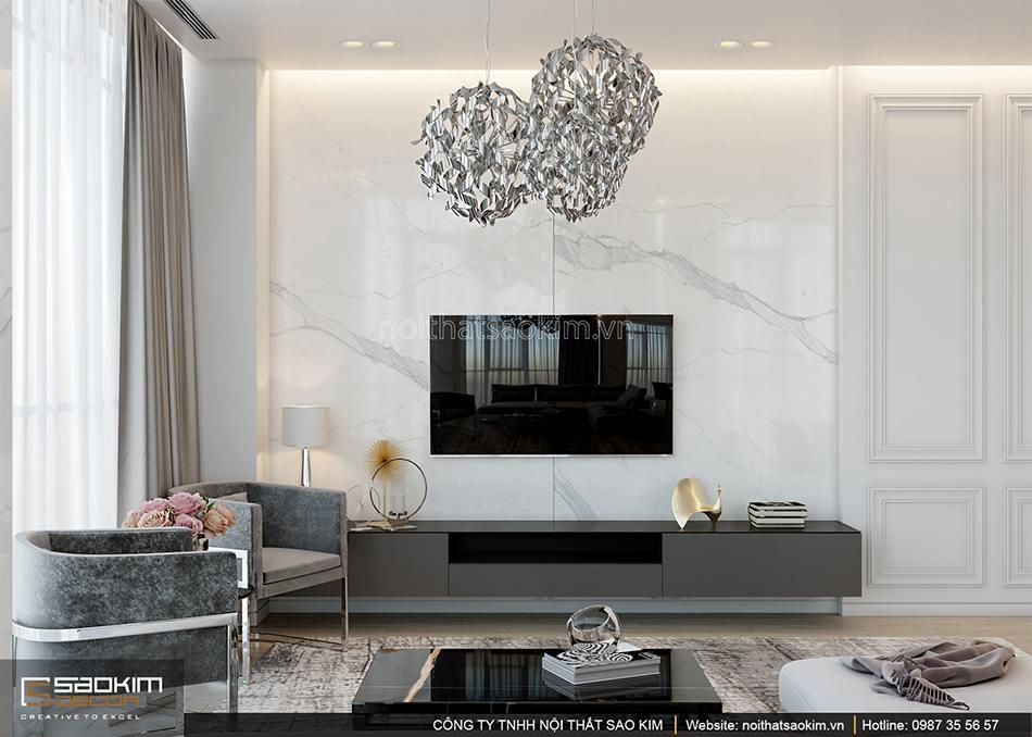 Thiết kế phòng khách chung cư 56m2 Sun Grand City