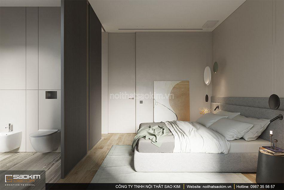 Không gian mở cho phòng tắm và phòng ngủ được lựa chọn cho phòng ngủ này
