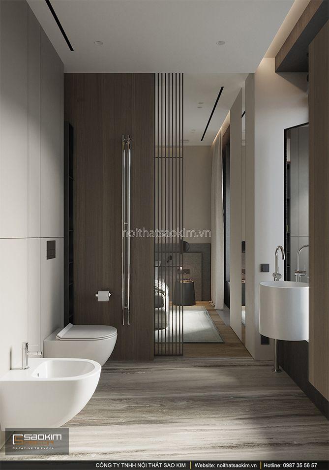 Thiết kế nội thất phòng tắm trong phòng ngủ master chung cư Indochina Plaza