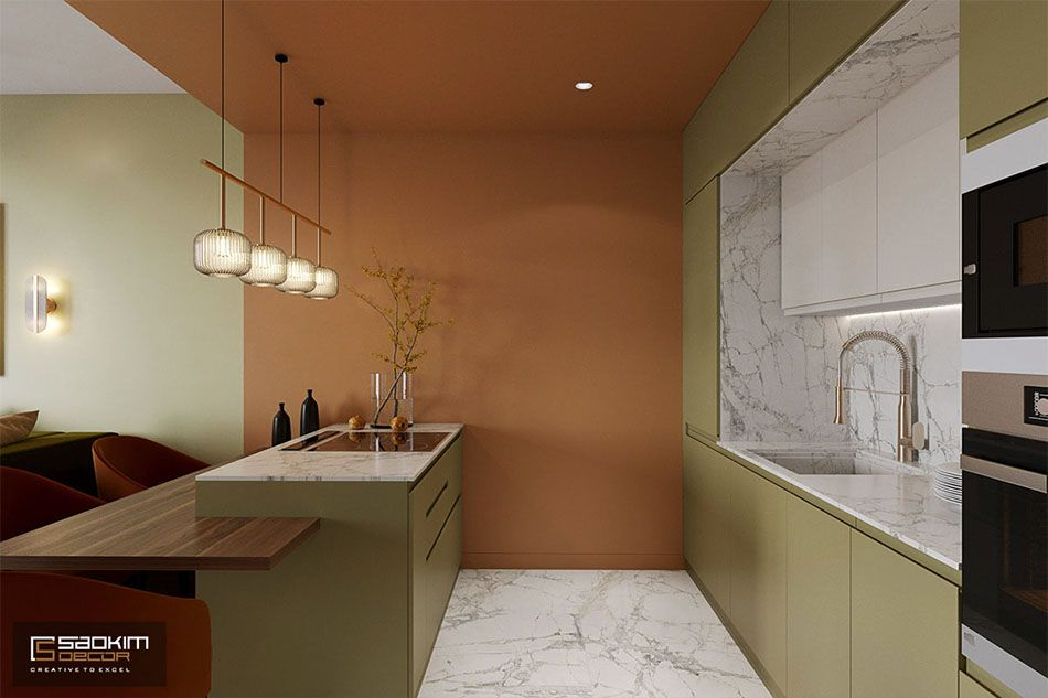 Thiết kế phòng bếp căn hộ chung cư Sunshine Garden theo phong cách Color Block