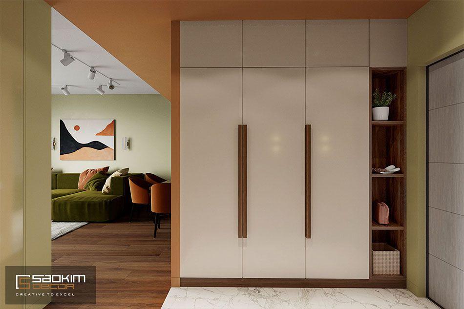 Khu vực tiền sảnh căn hộ đặt tủ kệ giày đa năng