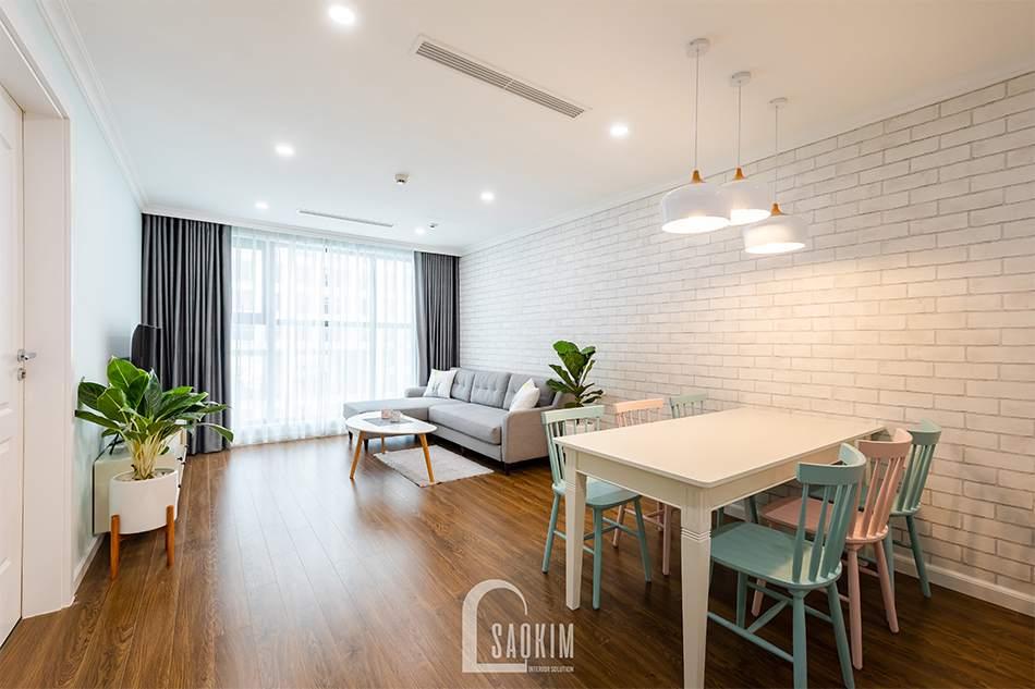 Mẫu thiết kế thi công nội thất phòng khách chung cư Sunshine Garden 108m2