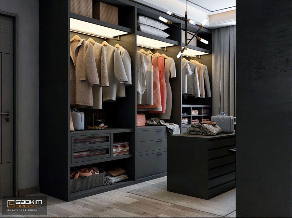 Mẫu thiết kế nội thất phòng thay đồ căn hộ studio Vinhomes Smart City 38m2
