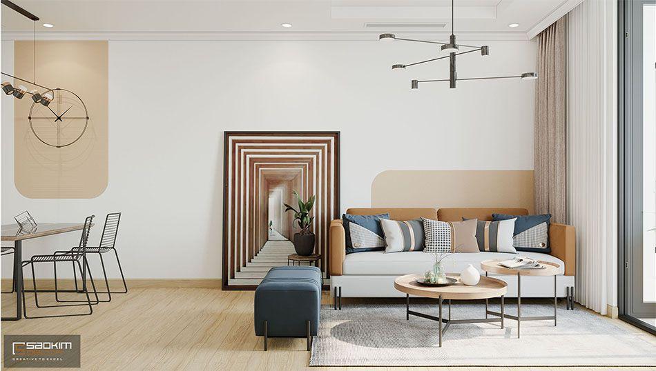 Thiết kế phòng khách trong dự án cải tạo chung cư cũ Time City 78m2