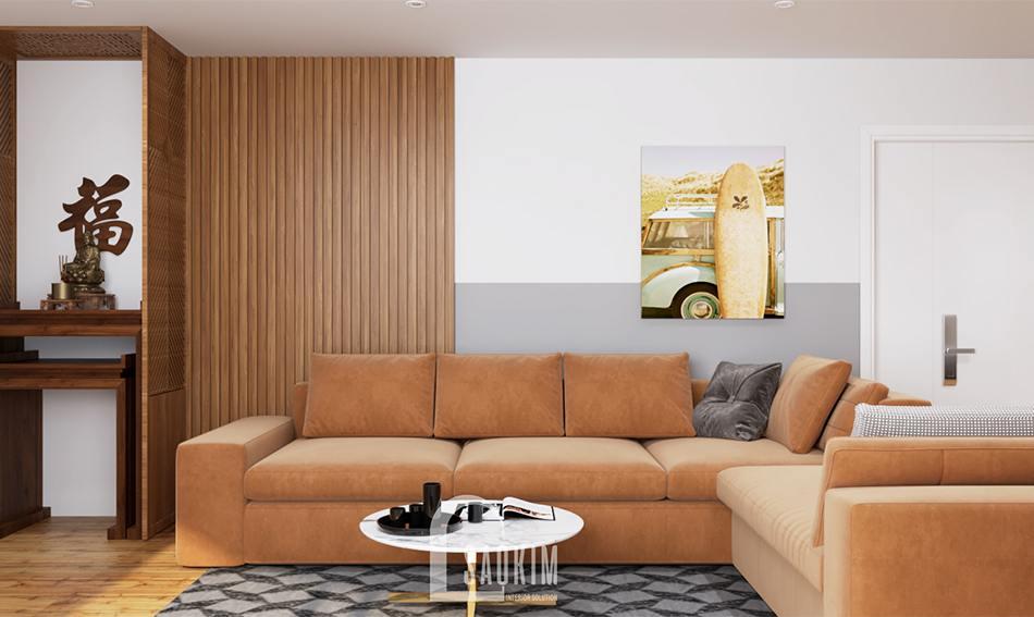Mẫu thiết kế nội thất phòng khách chung cư Bắc Hà 75m2