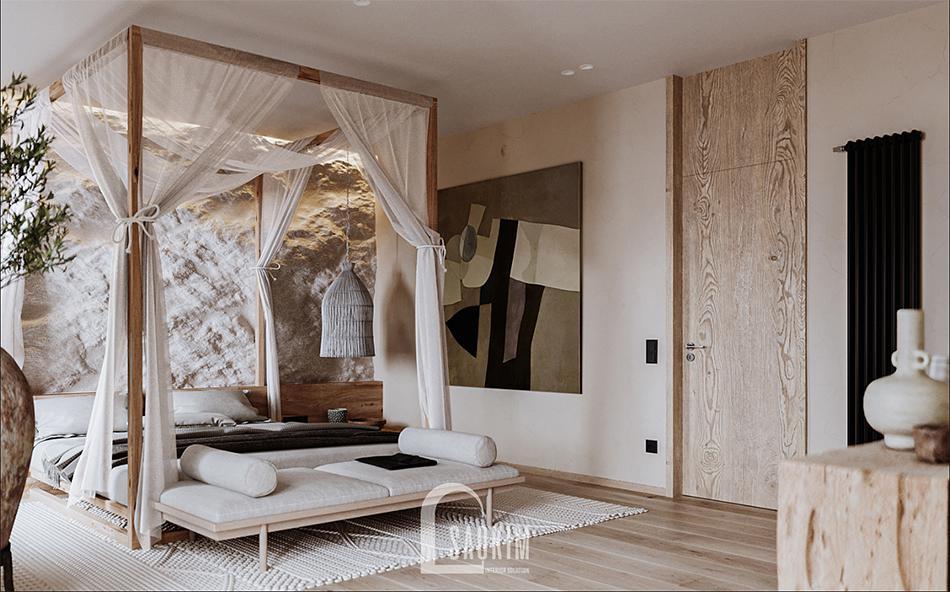 Kết cấu trong thiết kế nội thất phong cách Wabi Sabi thường giữ nguyên bề mặt tự nhiên ban đầu