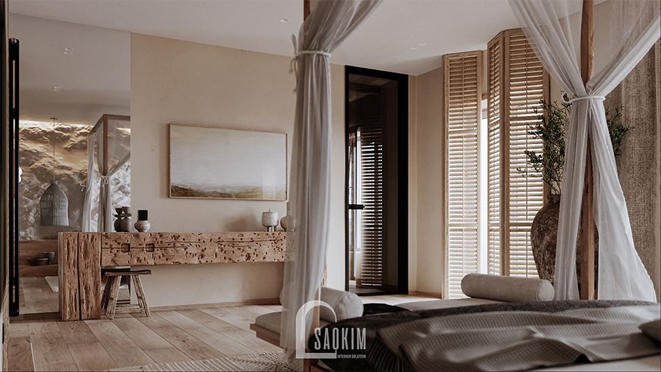 Màu sắc trong phong cách nội thất Wabi Sabi mang lại cảm giác thư thái, dễ chịu