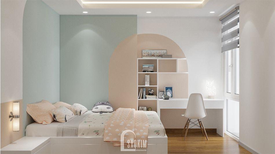 Thiết Kế phòng ngủ cho bé Nhà Chung Cư 65m2 Imperia Garden xinh xắn với gam màu pastel cùng phong cách Color Block