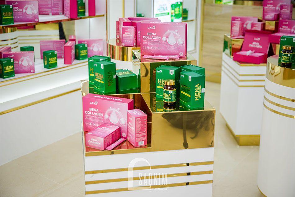 Hoàn thiện kê trưng bày mỹ phẩm cao cấp Gana Beauty
