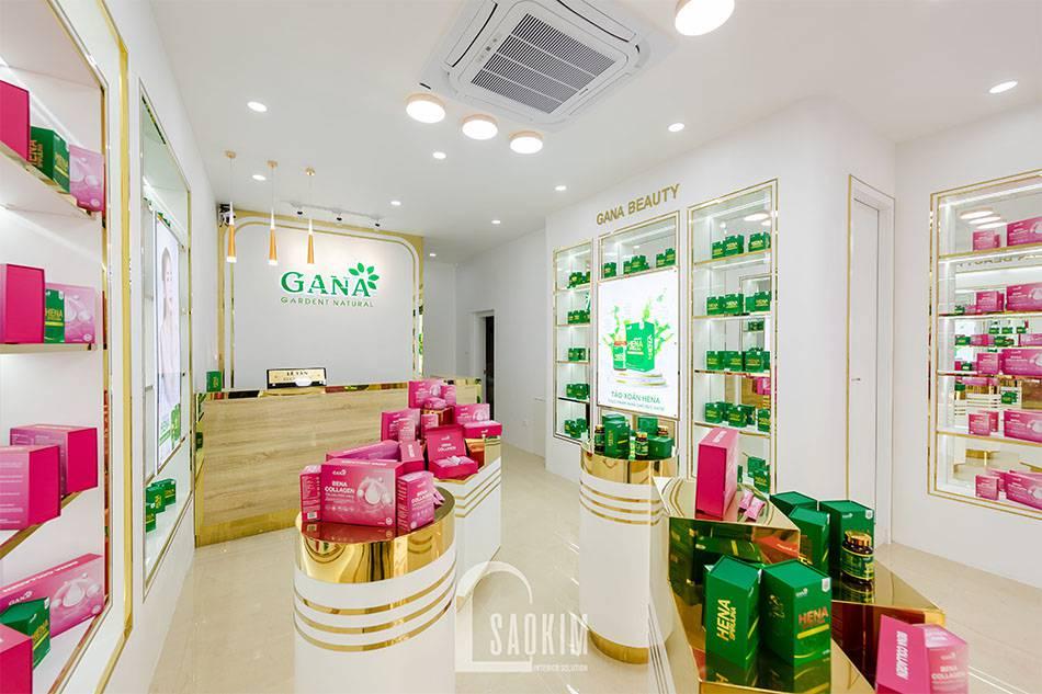 Mẫu thiết kế showroom mỹ phẩm rộng thoáng, tươi mát mang cảm giác dễ chịu cho khách hàng