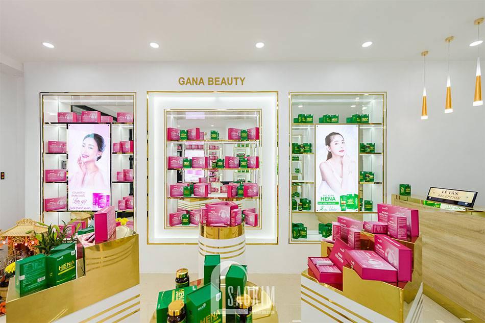 Ảnh hoàn thiện không gian trưng bày showroom mỹ phẩm cao cấp Gana Beauty