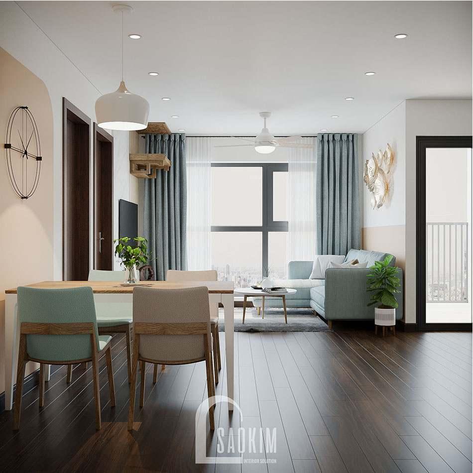 Lựa chọn phong cách thiết kế Color Block cho căn họ 80m2 Eco Home