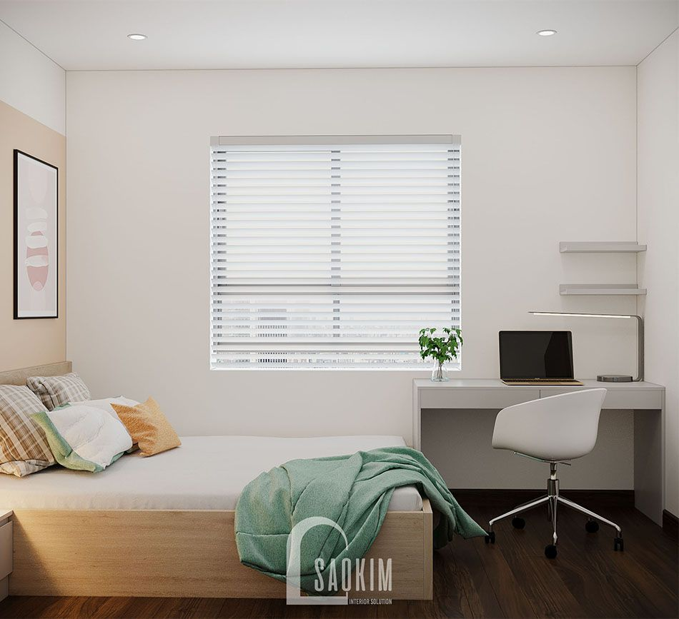Không gian phòng ngủ rộng thoáng, tràn đầy sức sống