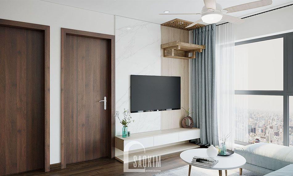 Không gian phòng khách mang vẻ đẹp phóng khoáng, tươi mới