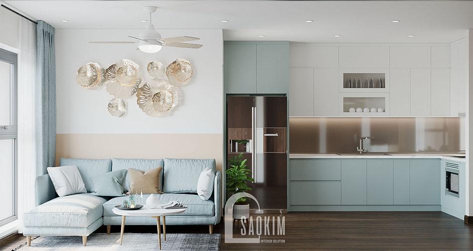 Không gian phòng khách căn hộ 80m2 Eco Home đẹp với phong cách thiết kế Color Block