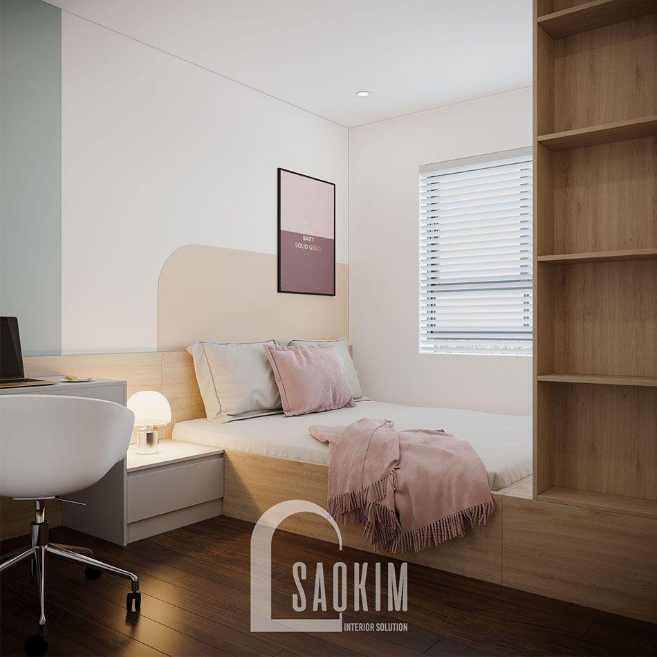 Mẫu phòng ngủ 2 đẹp với phong cách thiết kế Color Block