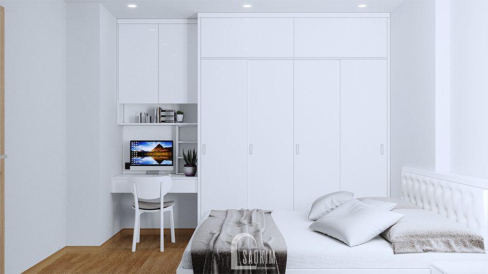 Không gian phòng ngủ phòng khoáng, tươi mới